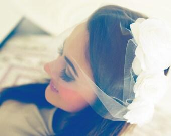 Bridal Birdcage Veil, Bandeau Veil, Bridal Blusher Veil, Wedding Veil, Tulle Bandeau Veil, Illusion Tulle Veil, Mini Veil