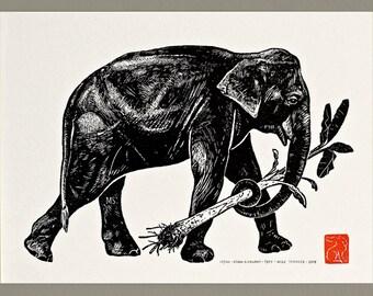 Asian Elephant with Banana Palm - Handmade Letterpress Print