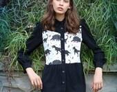 Sale, black dress, Womens outerwear, womens dress , buttoned dress, buttoned jacket, Dinosaur print, jurassic park, peter pan collar