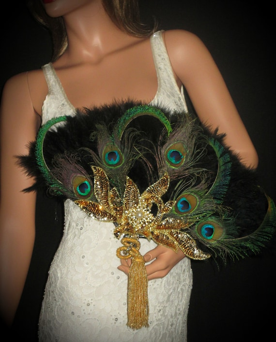 Gold peacock gatsby feather fan black and natural peacock for Where can i buy peacock feathers craft store