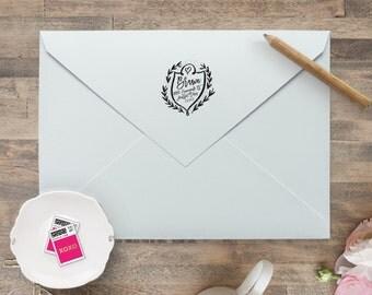 Return Address Stamp / Self Inking Wedding Invitation Stamp, Save The Date  Stamp, Monogram