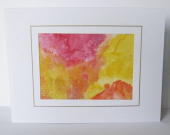 Hand painted silk card orange yellow abstract deaign