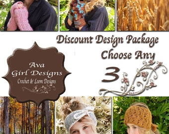Crochet or Knifty Knitter Loom Patterns, Design Discount Package any 3, Ava Girl Designs Discount Package, Baby Crochet Patterns, Crochet