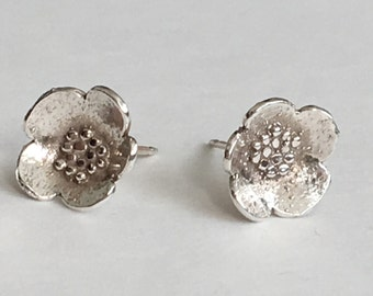 Small Silver Granulated Blossom Post Earrings (EP-SSGB)