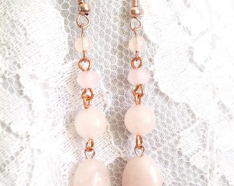 Rose Quartz and Rose Gold - 4 Bead Drop Earrings - Mid Century Modern - Vintage Inspired