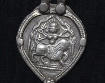 Antique Indian Amulet, Goddess Durga Pendant, Ethnic Tribal, High Grade Silver, Rajasthan, India, 13.2 Grams