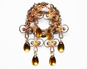 Reserved for Laura - Solje Silver Norwegian Wedding Brooch - Filigree with Goldtone Overlay - Vintage 1950's - 1960's