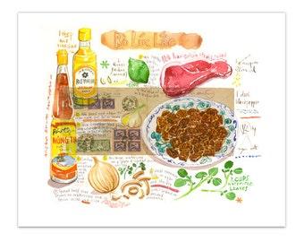 Vietnamese food print, Bo Luc Lac illustration, Watercolor painting, Kitchen decor, Kitchen wall art, 8X10 print, Asian food poster, Vietnam