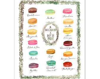French macaron flavor chart print, Watercolor art, 8X10 art print, Macaroon print, Cake print, Pastel home decor, Paris wall art Kitchen art