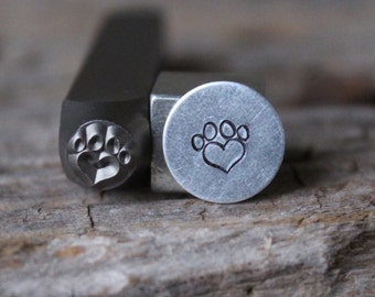Paw Print Heart Stamp-6mm Size-Steel Stamp-New Metal Design Stamps-by Metal Supply Chick-DCH84