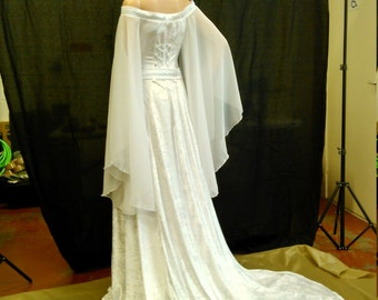 renaissance dress, medieval dress, celtic wedding dress, handfasting dress, elven dress, white celtic gown, custom made