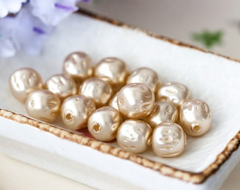 Vintage Glass Pearls 10mm Creamy Light Ecru Miriam Haskell Baroque Glass Pearl Beads from Japan - Buy 3 Get 1 Free