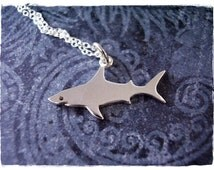 Silver Shark Necklace - Sterling Silver Shark Charm on a Delicate Sterling Silver Cable Chain or Charm Only