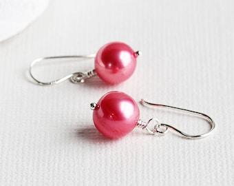 Genuine Freshwater Strawberry Pink Pearl Earrings on Sterling Silver Hooks