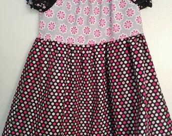Polka dot peasant dress