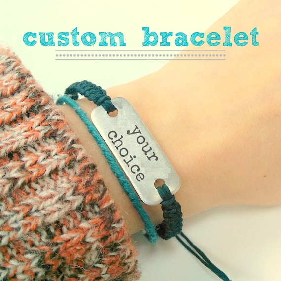 Custom bracelet // aluminum bracelet with adjustable hemp band
