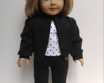 BLACK CARDIGAN SWEATER 18 inch doll clothes
