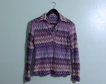 1970s Purple Shirt Stretch Collared Chevron Psychedelic