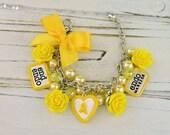 endometriosis charm bracelet, endo warrior, endo awareness, yellow ribbon, end endo