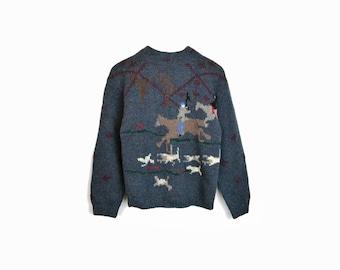 Vintage British Hunting Sweater / Shetland Wool Horse Sweater