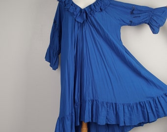 loose fitting royal blue long ruffled dress 90s oversize romantic boho puffy sleeve caftan XL plus size bohemian hippy