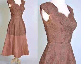 40s Dress 1940s Mocha Lace Taffeta Dress WWII Era Full Skirt XS S