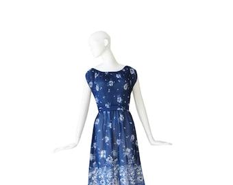 1970s Dress • 70s Floral Dress • Blue Boho Dress • Large L