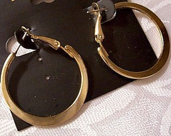 Flat Graduated Band Hoops Pierced Post Stud Earrings Gold Tone Vintage Support Clips Round Smooth Large Dangles