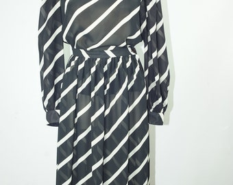 1980s 80s Black and White Striped Two Piece Twin Set Semi Sheer Blouse and Skirt Size Medium
