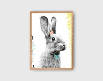 Nursery Bunny Poster, Rabbit Poster, Animal Illustration, Nursery Decor, Baby Girl, Baby Decor, Rabbit Print, Kids Room Poster