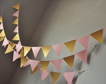Bunting Banner for Pink and Gold Party Decor.  Handcrafted in 2-3 Business Days.  Pennant Banner.  Photo Backdrop.