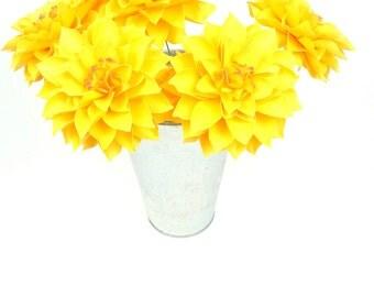 NEW: The  Dahlia Handmade Paper Flower  - set of 5 flowers  - Stems Included -  Custom order available