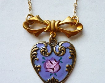 Tender Heart // Brass and Enamel Lavender with Pink Rose Guilloche Heart Necklace on Gold Chain, Vintage Bow, Shabby Chic Rococo Deco Cute