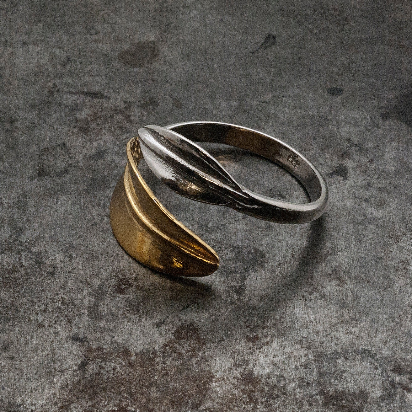 gold and silver leaf ring twisted leaves wrap wide ring