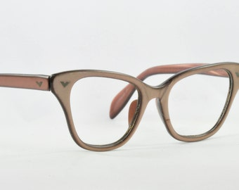 Vintage Cat Eye Glasses, Pearly Bronze, Made by Victory, Smaller Size, 1950s, 1960s
