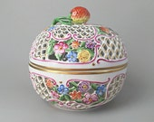 "Large 6"" Herend Openwork Ball Box Pierced Porcelain Box Bonbon Dish"