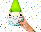 happy garden gnome with lime green hat / handmade plush stuffed pillow toy