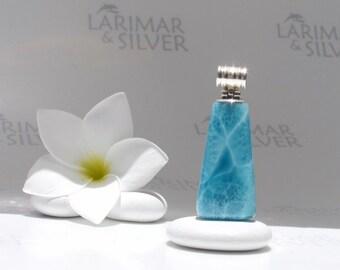 Larimarandsilver pendant, Secret Rune of Atlantis - navy blue Larimar trapeze, deep blue, turtleback, blue X sign, handmade larimar pendant