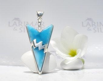 Larimarandsilver pendant, Electric Storm - volcanic blue Larimar arrowhead, royal blue, flash pendant, blue arrow, handmade Larimar pendant