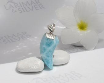 Larimarandsilver pendant, Ocean Warrior - sea blue Larimar claw, claw pendant, turtleback, blue tooth, for men, handmade Larimar pendant