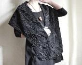 SALE - Fur Stole 1960s Persian lamb Shoulder Cape long sleeve Fur Shoulder Collar retro fur  Wrap, 1960ies fur Wrap collectible