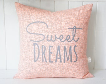 Sweet Dreams Pillow Cover, 20x20, Coral confetti