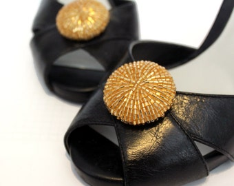 Yellow Gold Beaded Round Shoe Clips. Shoe Accessories. Handmade. Reused Materials.