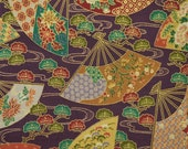 1/4 YARD, Purple Gold Green, Handheld Fans Print, Quilting Cotton Fabric, Cherry Blossoms, 20 x 18, B44