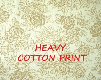 Light Brown White, Floral Print, Home Decor or Upholstery Fabric, Cottage Roses, Heavy Weight Cotton, half yard, B21