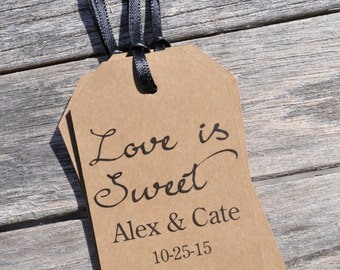Wedding Thank You Tags Love Is Sweet, Favor Tags, Rustic Kraft Favor Tag, Bridal Shower, Baby Shower Favor Tags - Set of 12