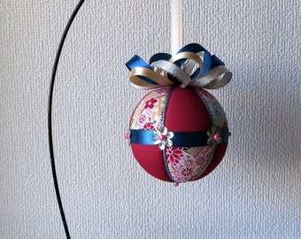 Kimekomi Ornament Materials Kit - Beige Floral, Dark Pink with Blue Trim - Hansha