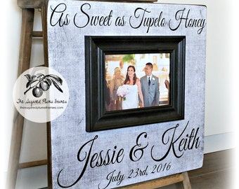 Wedding Gift, Anniversary Gift, Personalized Picture Frame, As Sweet As Tupelo Honey, 16x16 The Sugared Plums Frames
