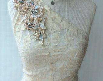 Gold/Blush Beaded Lace Appliqué