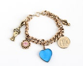 """Antique 10k Rose Gold Filled Victorian Charm Bracelet - Late 1800s Edwardian Era Linked Repousse Chain Jewelry with Locket, """"J"""" Heart, Hand"""